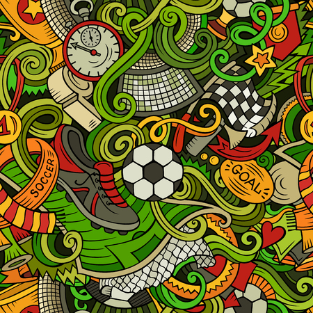 Cartoon cute doodles hand drawn Soccer seamless pattern. Colorful detailed, with lots of objects background. Endless funny vector illustration