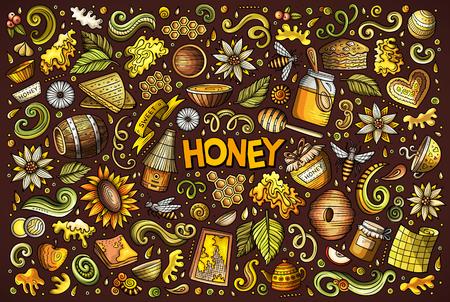 Vektor Hand gezeichnet Doodle Cartoon-Set von Honig themed Objekte . Objekte und Symbole Standard-Bild - 88435008
