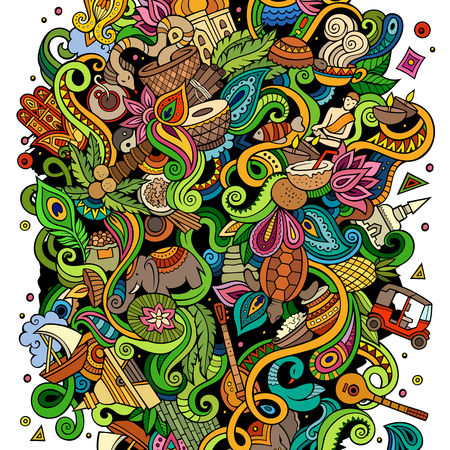 Cartoon cute doodles hand drawn India illustration. Colorful detailed, with lots of objects background.