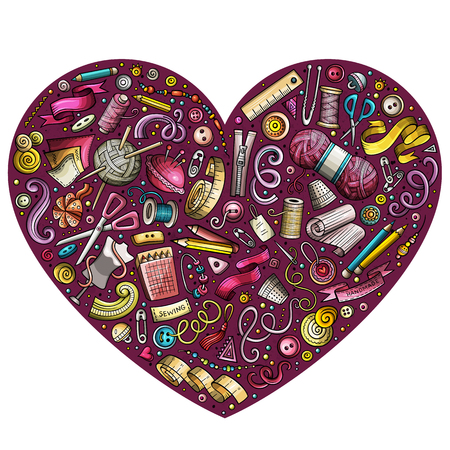 Colorful vector hand drawn set of Handmade cartoon doodle objects, symbols and items. Heart form composition