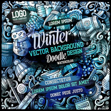 水彩の手描き落書きカード デザイン テンプレートで冬スタイルを漫画します。 写真素材 - 88495727