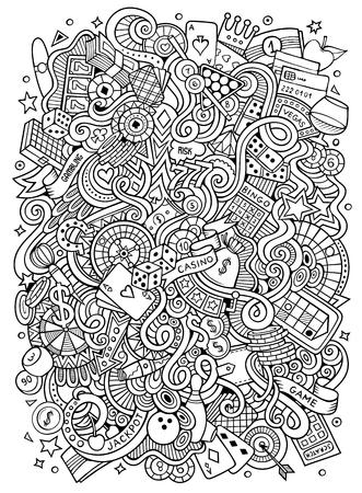Cartoon hand getekende doodles casino.
