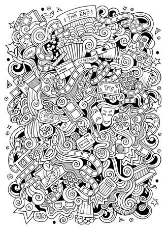 Cartoon cute doodles hand drawn cinema frame design.