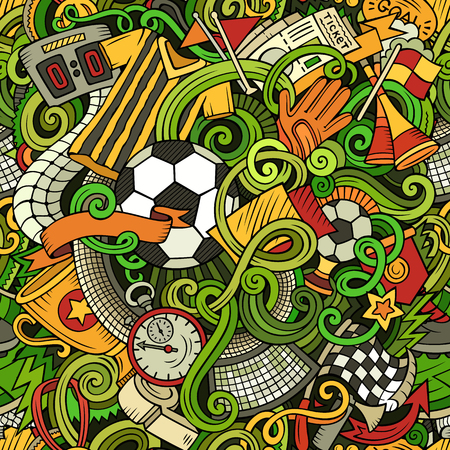 Cartoon cute doodles hand drawn Soccer pattern Ilustracja