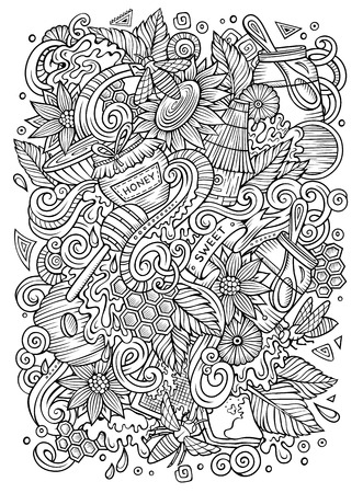 Cartoon cute doodles hand drawn Honey illustration Illusztráció