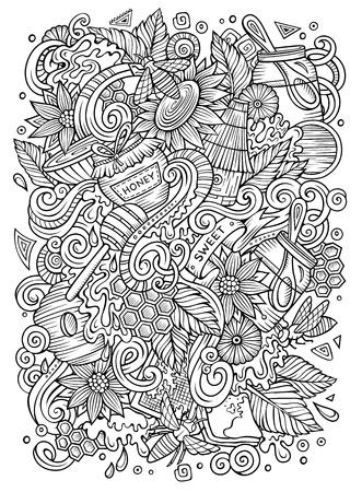 Desenhos animados doodles bonitos mão desenhada ilustração de mel Foto de archivo - 88498751