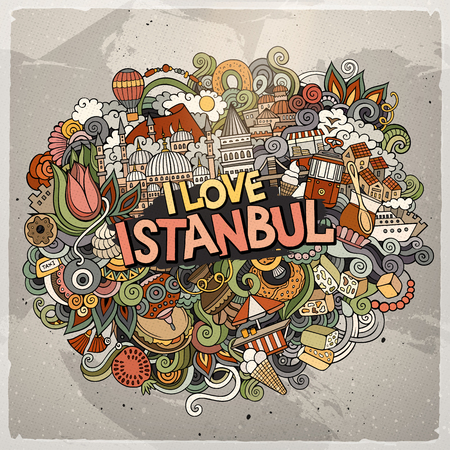 Cute doodles hand drawn 'I Love Istanbul'. Çizim