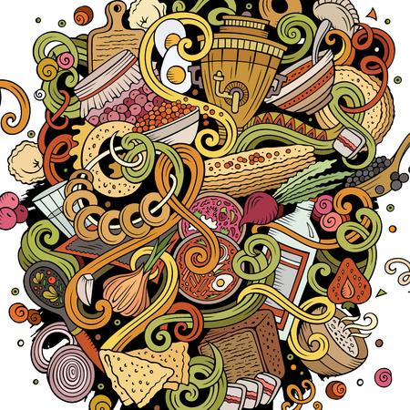Los garabatos lindos de la historieta dan la ilustración rusa dibujada de la comida. Foto de archivo - 88499508