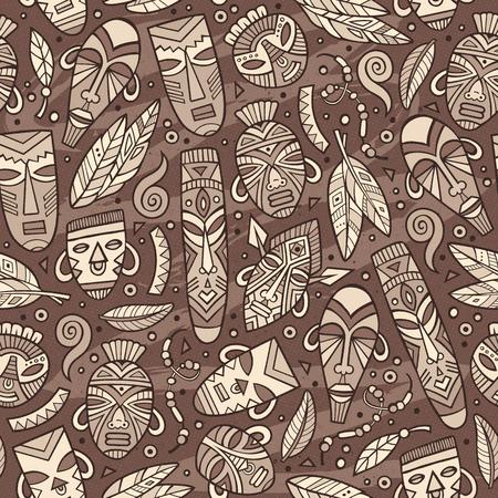 Cartoon cute hand drawn African pattern. Illustration