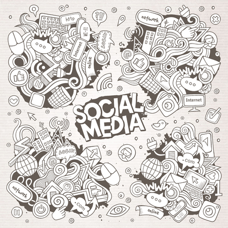 Sketchy hand drawn Doodle cartoon set of objects and symbols on the Social Media theme.