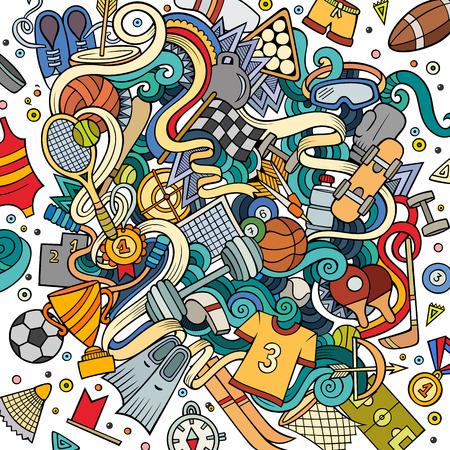 Cartoon cute doodles hand drawn Sport illustration. Ilustração