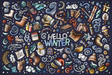 Kleurrijke vector hand getrokken doodle cartoon set winter seizoen objecten en symbolen