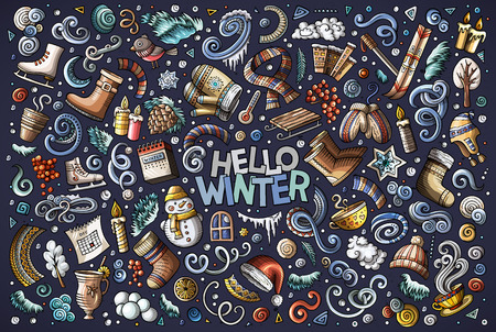 Colorful vector hand drawn doodle cartoon set of Winter season objects and symbols