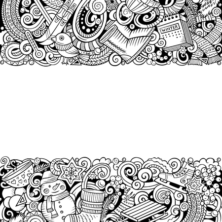 Cartoon vector doodles Winter horizontal stripes card design. Line art detailed, with lots of objects illustration. All items are separate. Seasonal funny border