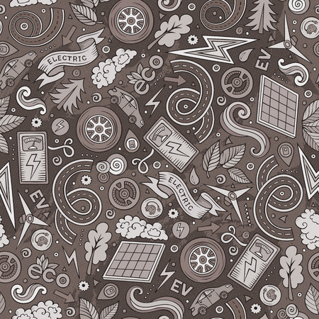 Cute hand drawn abstract electric vehicles pattern design illustration. Illustration