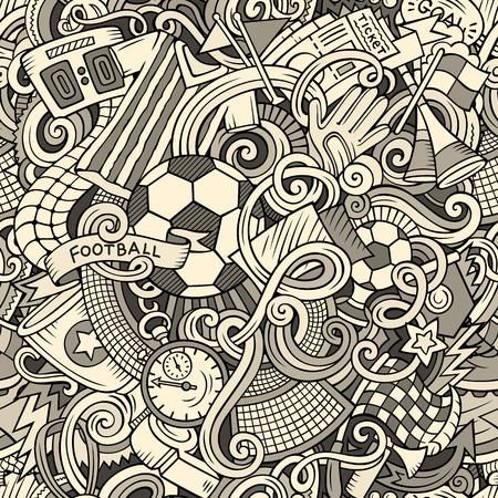 Cute cartoon style doodles soccer pattern design illustration. Ilustração