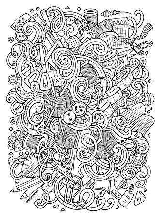 Leuke van het de krabbel met de hand gemaakte patroon van de beeldverhaalstijl het ontwerpillustratie. Stock Illustratie