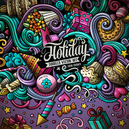 Cartoon style colorful doodles holidays frame design illustration.