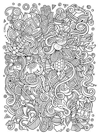 漫画のスタイルは、インドの文化テーマ アイテム イラストをいたずら書き。  イラスト・ベクター素材