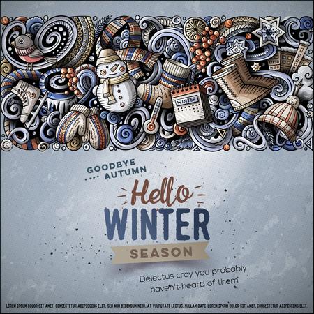 Cartoon doodles Winter horizontal stripe card design Illustration