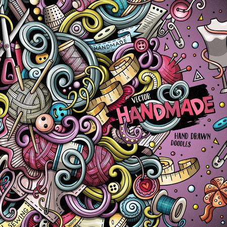 Cartoon cute doodles hand drawn hand made frame design.