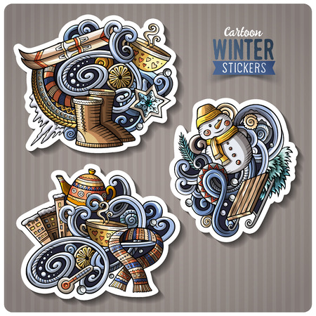 Set of Winter season cartoon stickers
