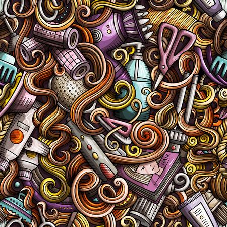 落書き漫画手描き下ろし髪サロン シームレス パターン