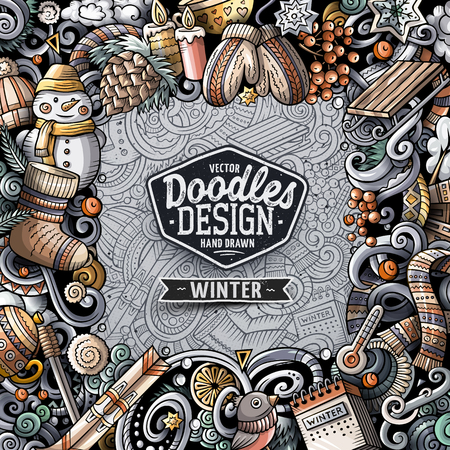 Cartoon vector doodles Winter square frame design Reklamní fotografie - 90175420