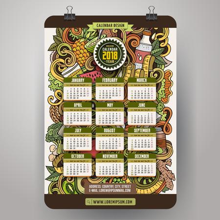 Cartoon colorful hand drawn doodles Diet 2018 year calendar