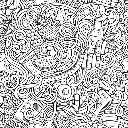 Dessin animé mignon doodles dessinés à la main Dessin animé sans couture alimentaire