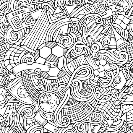 漫画かわいい落書きが描かれたサッカーのシームレスなパターンを手します。