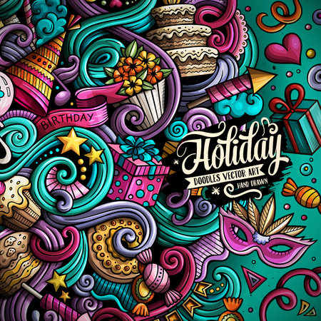 Cartoon hand-drawn doodles holidays illustration Ilustração