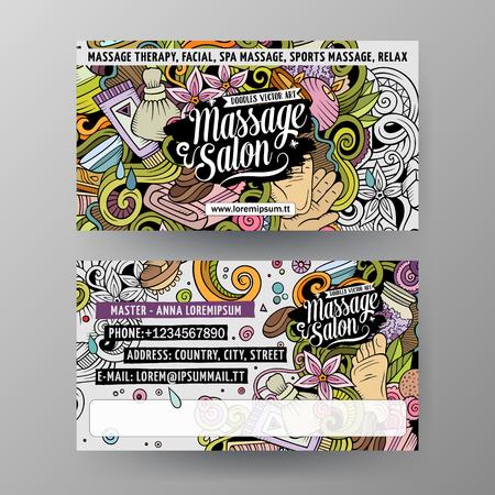 Cartoon doodles Massage salon 2 identity cards template