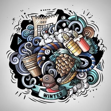 Vecteur de dessin animé doodles Illustration de l'hiver