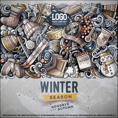 Cartoon vector doodles Winter horizontal stripe card design Stock Photo