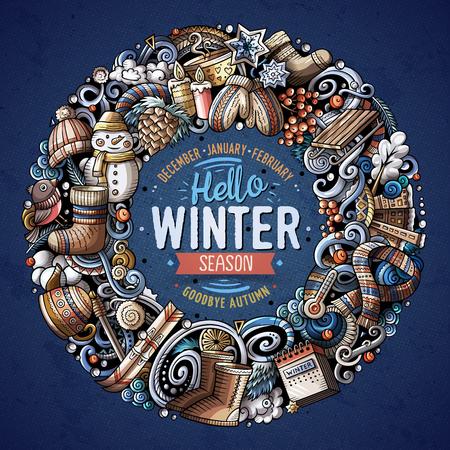 Cartoon vector doodles Winter round frame design