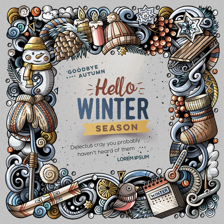 Cartoon vector doodles Winter square frame design