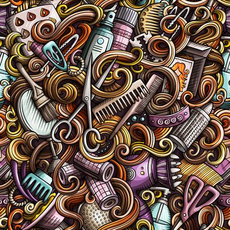 Il fumetto scarabocchia il modello senza cuciture del salone di capelli disegnato a mano