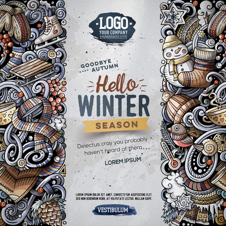 漫画のベクトル落書き冬縦縞カード デザイン。詳細は、オブジェクトの図の多くが付いてカラフル。すべての項目が分かれています。季節変な境界