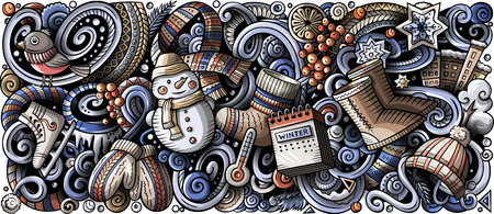 Cartoon vector doodles Winter vertical horizontal stripe illustration