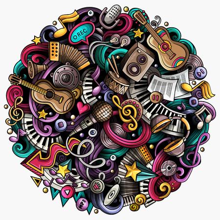 Cartoon vector doodles muziek illustratie Stockfoto