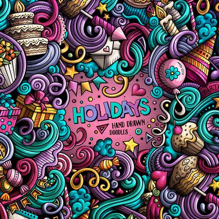 Cartoon hand-drawn doodles holidays illustration Banco de Imagens