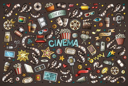 Colorful vector hand drawn Cinema Doodle cartoon set of objects