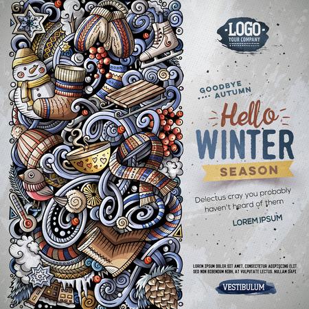 Cartoon vector doodles Winter vertical stripe card design Stock Photo