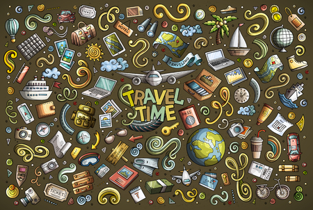 Vector doodle cartoon set of travel theme items 스톡 콘텐츠