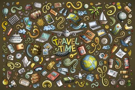 Vector doodle cartoon set of travel theme items Archivio Fotografico