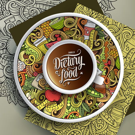 Cup of coffee and Diet food doodles Stock Photo