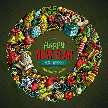 Cartoon vector doodles New Year round frame design. Colorful detailed, with lots of objects illustration. All items are separate. Bright colors holiday funny border 向量圖像