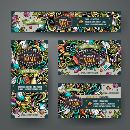 Corporate Identity vector templates set design with doodles hand drawn Science theme. Colorful banner, id cards, flayer design. Templates set Ilustração
