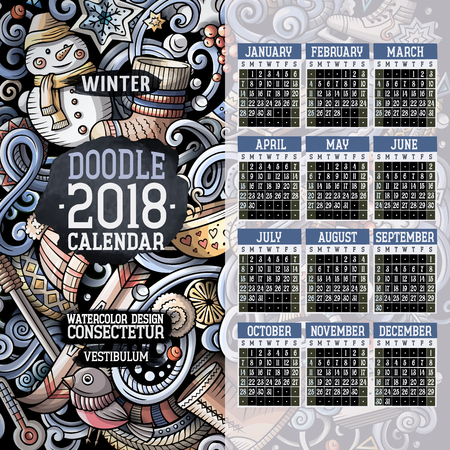 Cartoon colorful hand drawn doodles Winter 2018 year calendar template Иллюстрация